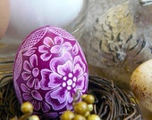 Easter Basket Egg - Hand Scratched Present Floral Light Plum Purple Pastel -  Lithuanian Etched Carved