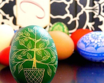Easter - Hand Scratched Real Egg Unique ETCHED Lithuanian Carved Present Tree Carved Pysanky - Stand or Ornament