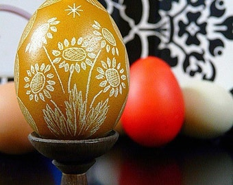 Sunflowers Egg Hand Scratched European Carved Egg Art - Lithuanian Pysanky - Polish European - Stand or Ornament - Easter Unique Gift
