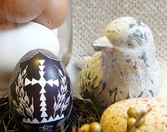 Seen on the Martha Stewart Show - Carved Hand Scratched Egg Real Chicken Egg Hollow Easter Decorated Etched Black Cross Religious Egg