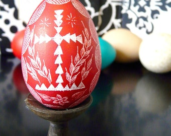 Seen on the Martha Stewart Show - Hand Scratched Egg Unique Carved Present Red Cross Lithuanian  Etched - Stand or Ornament - Easter