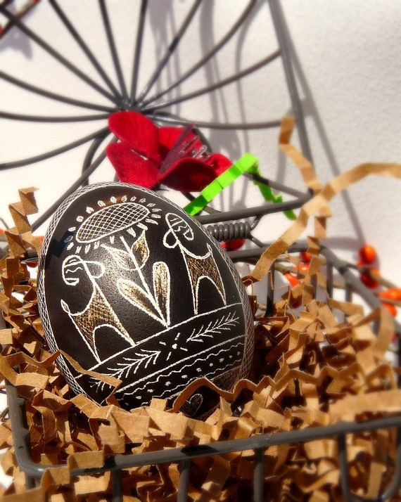 Traditional Etched Chicken Egg - Lithuanian - Pysanky - Black - Sunflower with Deer Moose Elk - Free Stand - Ornament or Stand - Easter