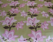Handmade cotton print tablecloth pinks and brown floral 54 inches squarekitchen patio overlay