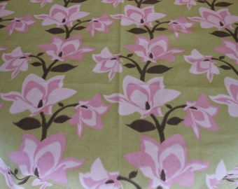 Handmade cotton print tablecloth pinks and brown floral 53 inches square kitchen patio overlay