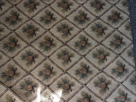 fabric, mountain, lodge, cabin, pinecone, one yard, 54 inches wide