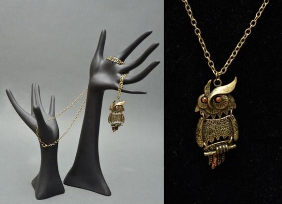 60s Brass White OWL Necklace Piercing Yellow Eyes Boho Hippie MOD