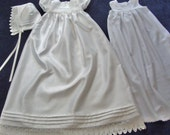 White Christening Gown/ Baptismal Dress Set Size Small For Baby Girl