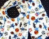 Sports Print Baby Boy Bib and Burp Cloth Set