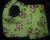 Lime Green Monkey Baby Bib and Burp Cloth Set For Boy or Girl