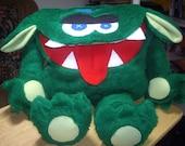 Green Furry Monster Backpack