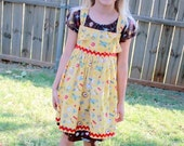 Girl's School Print Knot Jumper and Dress with Headband