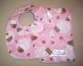 Cup Cake Super Soft Baby Bib and Burp Cloth Set For Baby Girl