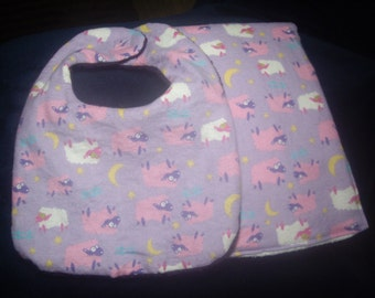 100% Cotton Lavendar Lamb Baby Bib and Burp Cloth Set