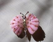 Vintage Brooch, Vintage Butterfly Brooch Pretty in Pink Butterfly Pin