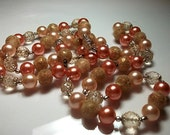 Beaded Vintage Necklace Pink Peach Peach Long Vintage Jewelry