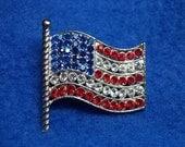 Vintage Brooch, Vintage Old Glory Brooch Stunning US Flag Rhinestone Pin Red White Blue Large