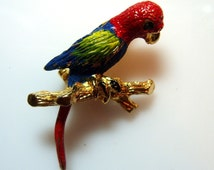 Colorful Vintage Parrot Brooch Pin Jewelry