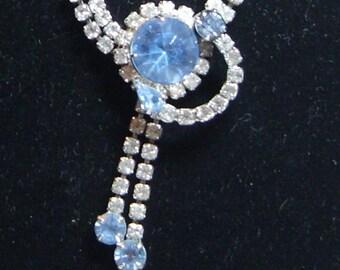 Blue Rhinestone Necklace Vintage Jewelry Wedding Bridal