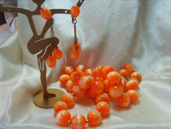 Vintage Set, Vintage ORANGE MOONSTONE Set  Necklace and Dangling Earring Set