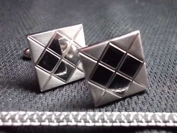 Vintage Mad Men Cuff Links Silver tone Cuff Links Qulted Pattern