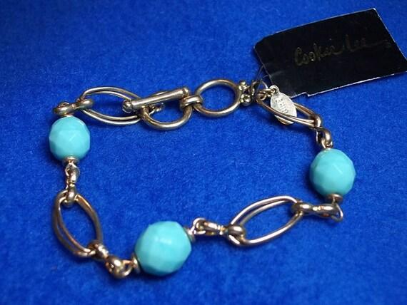RERVED for DIRTYDISHES Vintage Bracelet, Vintage Cookie Lee Bracelet Aqua Beaded
