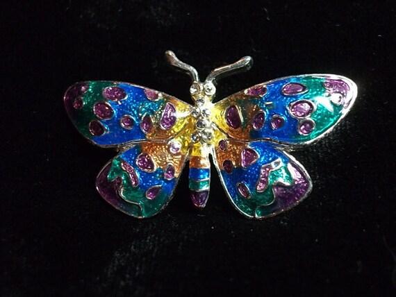 Vintage Brooch, Butterfly Brooch  Rhinestones & Enamel Pin Green Pink Blue Yellow,Vintage Brooch