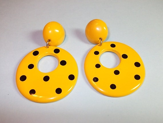 Reserved for Maria Vintage Earrings, Yellow Dangle Earrings Pierced Large Hoop Drop Earrings  Yellow Yellow Black Polk-a-Dots (322)