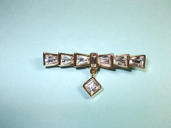 Monet Crystal Brooch Dangle Pin (SN 183),Vintage Brooch