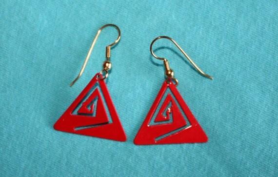 Vintage Dangle Earrings,Pierced Earrings, Red Earrings, Triangle Earrings, Geometric Earrings  (sn 114)