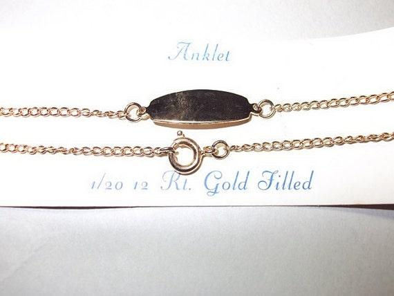 Vintage Bracelet, Vintage Gold Anklet New Old Stock Oval Nameplate ID Anklet 12 KGF