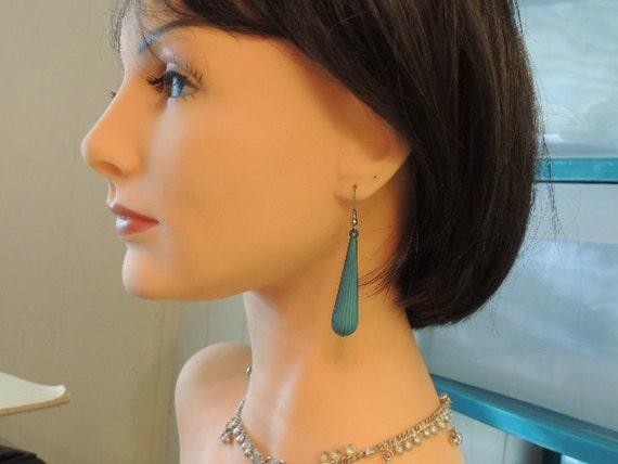 Vintage Earrings, Vintage Dangle Earrings Long Pierced Turquoise Blue Earrings (SN 483),Vintage Earrings