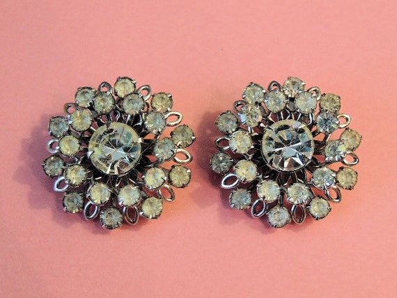 Vintage Earrings, Vintage Rhinestone Earrings Mad Men Glam Large (SN 489)