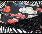 Vintage Trucks & Black Minky Blanket