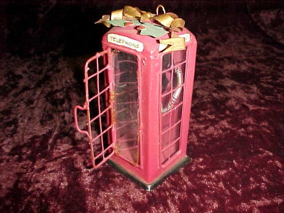 British telephone booth Christmas ornament