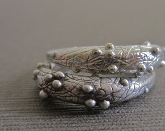 SALE - Ring. Small, Scribbly, Bumpy, Sterling Silver