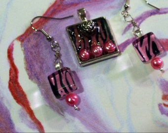 A Rose, Pink Zebra Stripes and Pearls Square Pendant and Earrings Set -- COUPON CODE SALE--10% for Black Friday