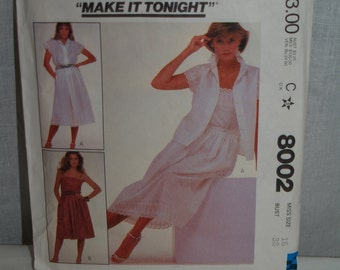 McCalls 80s blouse camisole skirt pattern Make It Tonight 8002