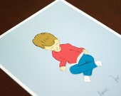 Reading Print Educational Nursery Art I Love to Read Illustration 8x10