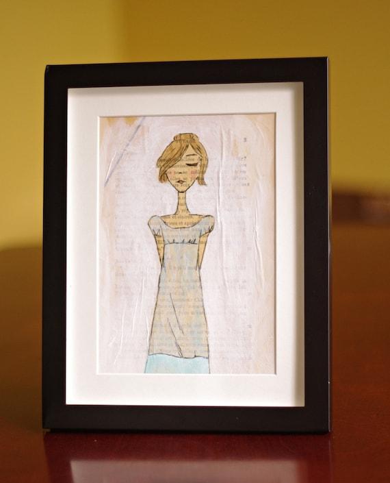 Pride and Prejudice Character Elizabeth Bennet Collage Original Mixed Media Portrait Illustration