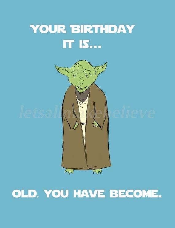 Items similar to Printable Cards Yoda Birthday on Etsy