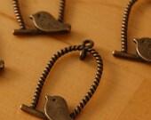 4pcs Antique Bronze Style Bird Charm