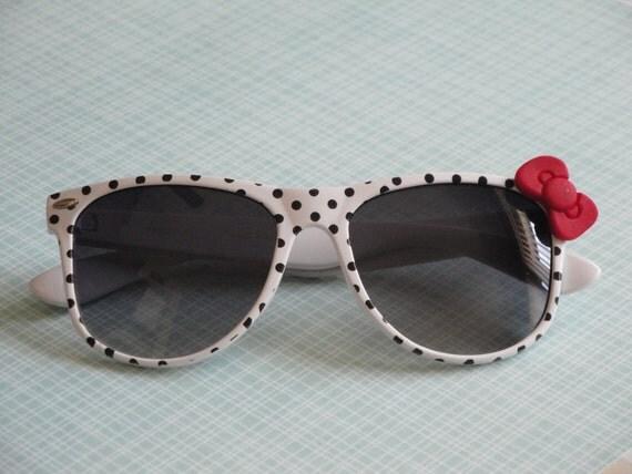 Polka Dot Nerd Sunglasses with Bow - White Frames, Dark Lens