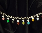 Foundations bracelet sterling silver with genuine gemstone charms