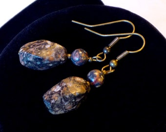 SALE - 30 PECENT OFF - Leopard jasper and oxidized brass earrings