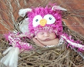 RESERVED for AMYMCS - Light Pink Owl Beanie with Earflaps - Great Newborn Photo Prop