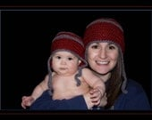 Earflap Beanie in Deep Red and Gray
