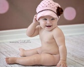 Newsboy Beanie in Light Pink and Brown