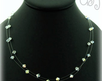 Double Strand Illusion Necklace Crystals Clear AB 4MM