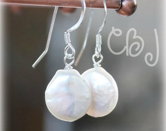 Pearl Earrings, White Pearl Earrings, Wedding Earrings, Custom Bridal Earrings, Bridal Coin Pearl Earrings Sterling Silver,