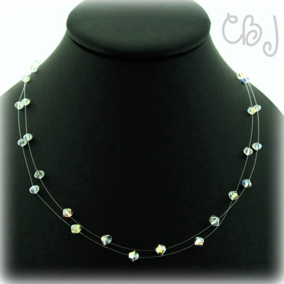 Double Strand Illusion Necklace Swarovski Crystals Clear AB 4MM